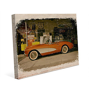 Stopping on Route 66 Slim 24X36 Canvas Wall Art, Red/Burgundy, large