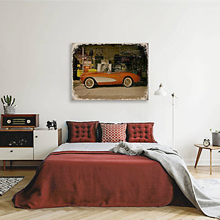 Stopping on Route 66 Slim 20X24 Wood Plank Wall Art, Red/Burgundy, rollover