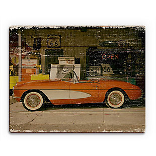 Stopping on Route 66 Slim 20X24 Wood Plank Wall Art, Red/Burgundy, large