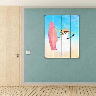 Snowman Summer Crystal 20X24 Wood Plank Wall Art, Multi, rollover