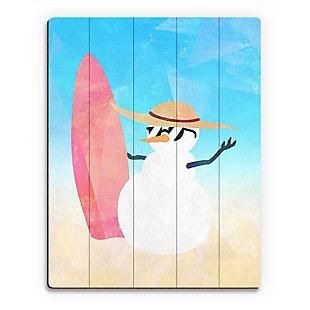 Snowman Summer Crystal 20X24 Wood Plank Wall Art, Multi, large