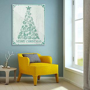 Shellmas Tree Leaf Wood 24X36 Acrylic Wall Art, Green/White, rollover