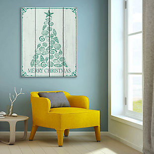Shellmas Tree Leaf Wood 20X24 Wood Plank Wall Art, Green/White, rollover