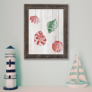 Christmas Shells - Red Side 24X36 Barnwood Framed Canvas, Red/Green, rollover