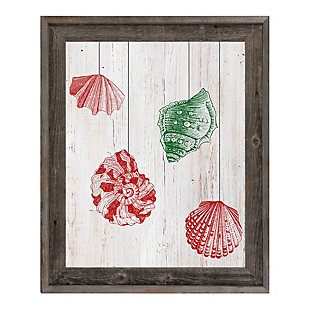 Christmas Shells - Red Side 24X36 Barnwood Framed Canvas, Red/Green, large