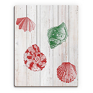 Christmas Shells - Red Side 20X24 Wood Plank Wall Art, Red/Green, large