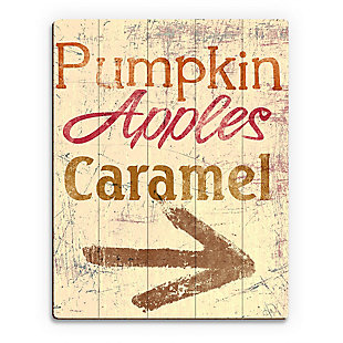 Pumpkin Apple Caramel - Yellow 20X24 Wood Plank Wall Art, Multi, large