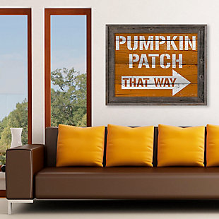 Pumpkin Patch That Way 24X36 Barnwood Framed Canvas, Multi, rollover