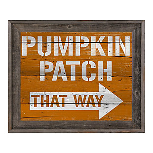 Pumpkin Patch That Way 24X36 Barnwood Framed Canvas, Multi, large