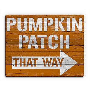 Pumpkin Patch That Way 20X24 Wood Plank Wall Art, Multi, large