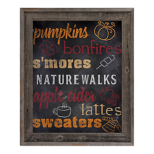Fall Favorites Blackboard - Orange 24X36 Barnwood Framed Canvas, Multi, large