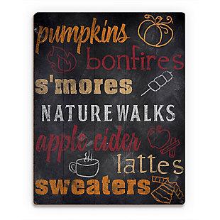 Fall Favorites Blackboard - Orange 20X24 Wood Plank Wall Art, Multi, large