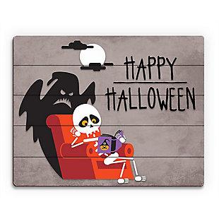 Halloween - Gray 20X24 Wood Plank Wall Art, Black, large