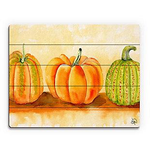 Pumpkins Beta 20X24 Wood Plank Wall Art, Orange, large