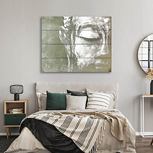 Painted Buddha Beta 20X24 Wood Plank Wall Art, Gray, rollover