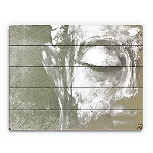Painted Buddha Beta 20X24 Wood Plank Wall Art, Gray, large