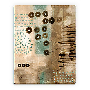 Bouncing Coffee Beans 20X24 Wood Plank Wall Art, Brown, large