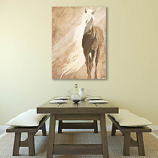 A Horse In The Wind Brown 24X36 Acrylic Wall Art, Brown, rollover