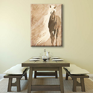 A Horse In The Wind Brown 24X36 Canvas Wall Art, Brown, rollover