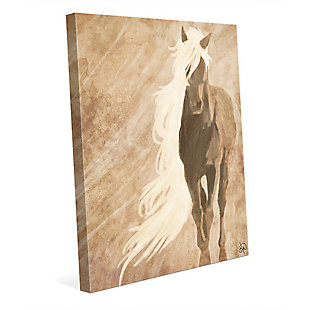 A Horse In The Wind Brown 24X36 Canvas Wall Art, Brown, large
