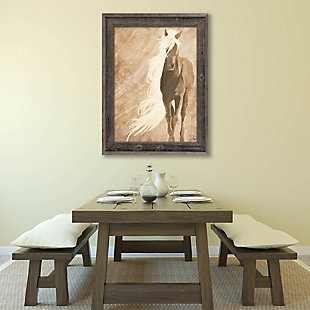 A Horse In The Wind Brown 24X36 Barnwood Framed Canvas, Brown, rollover