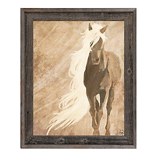 A Horse In The Wind Brown 24X36 Barnwood Framed Canvas, Brown, large