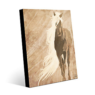 A Horse In The Wind Brown 30X40 Metal Wall Art, , large