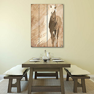 A Horse In The Wind Brown 20X24 Wood Plank Wall Art, Brown, rollover