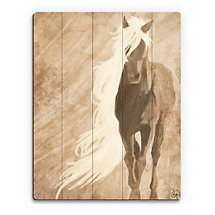 A Horse In The Wind Brown 20X24 Wood Plank Wall Art, Brown, large