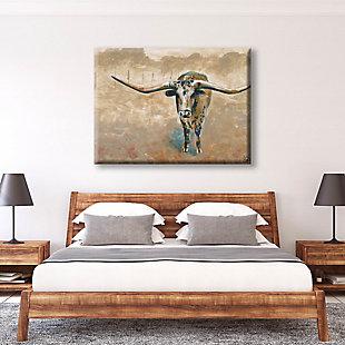 Longhorn Steer 11X14 Canvas Wall Art, Brown, large