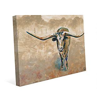 Longhorn Steer 24X36 Canvas Wall Art, Brown, large