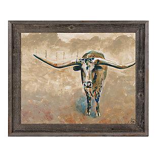 Longhorn Steer 11X14 Barnwood Framed Canvas, , large