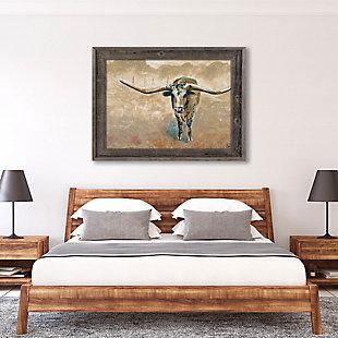 Longhorn Steer 24X36 Barnwood Framed Canvas, Brown, rollover
