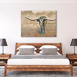 Longhorn Steer 20X24 Wood Plank Wall Art, , rollover