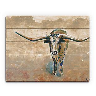Longhorn Steer 20X24 Wood Plank Wall Art, , large