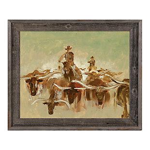 Cow Punching 24X36 Barnwood Framed Canvas, , large