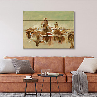 Cow Punching 20X24 Wood Plank Wall Art, Brown, rollover