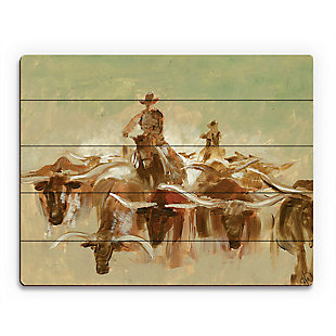 Cow Punching 20X24 Wood Plank Wall Art, Brown, large