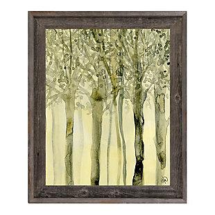 October Trees Alpha 24X36 Barnwood Framed Canvas, Yellow, large