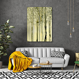 October Trees Alpha 20X24 Wood Plank Wall Art, Yellow, rollover