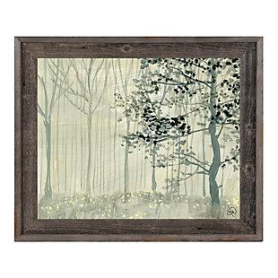 Misty Forest Alpha 24X36 Barnwood Framed Canvas, Gray, large