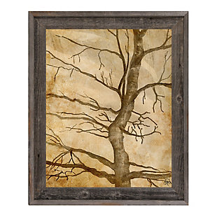 Scraggly Tree Gamma 24X36 Barnwood Framed Canvas, Brown, large