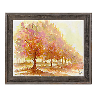 Red Autumn 24X36 Barnwood Framed Canvas, Brown, large