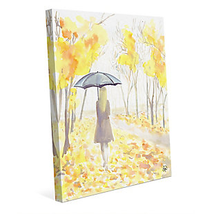 Autumn Rain 24x36 Canvas Wall Art, Yellow, large