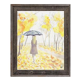 Autumn Rain 24x36 Barnwood Framed Canvas, Yellow, large