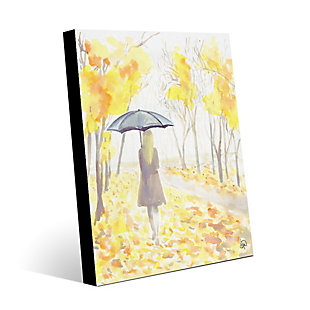 Autumn Rain 24X36 Metal Wall Art, Yellow, large
