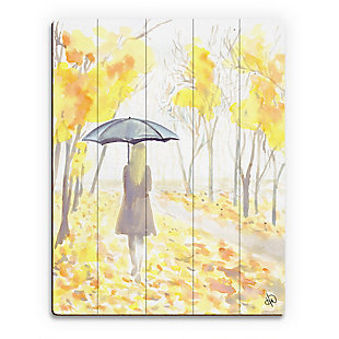 Autumn Rain 20X24 Wood Plank Wall Art, Yellow, large