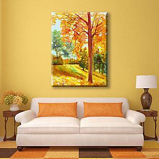 Autumn Park Wood 24x36 Canvas Wall Art, Orange, rollover