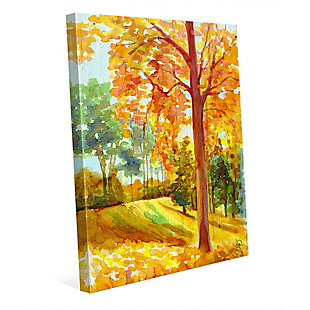 Autumn Park Wood 24x36 Canvas Wall Art, Orange, large