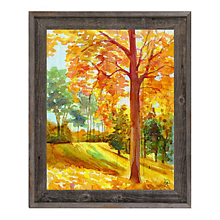 Autumn Park Wood 24x36 Barnwood Framed Canvas, Orange, large